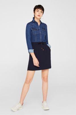 Crêpe skirt with a drawstring waistband, NAVY, detail
