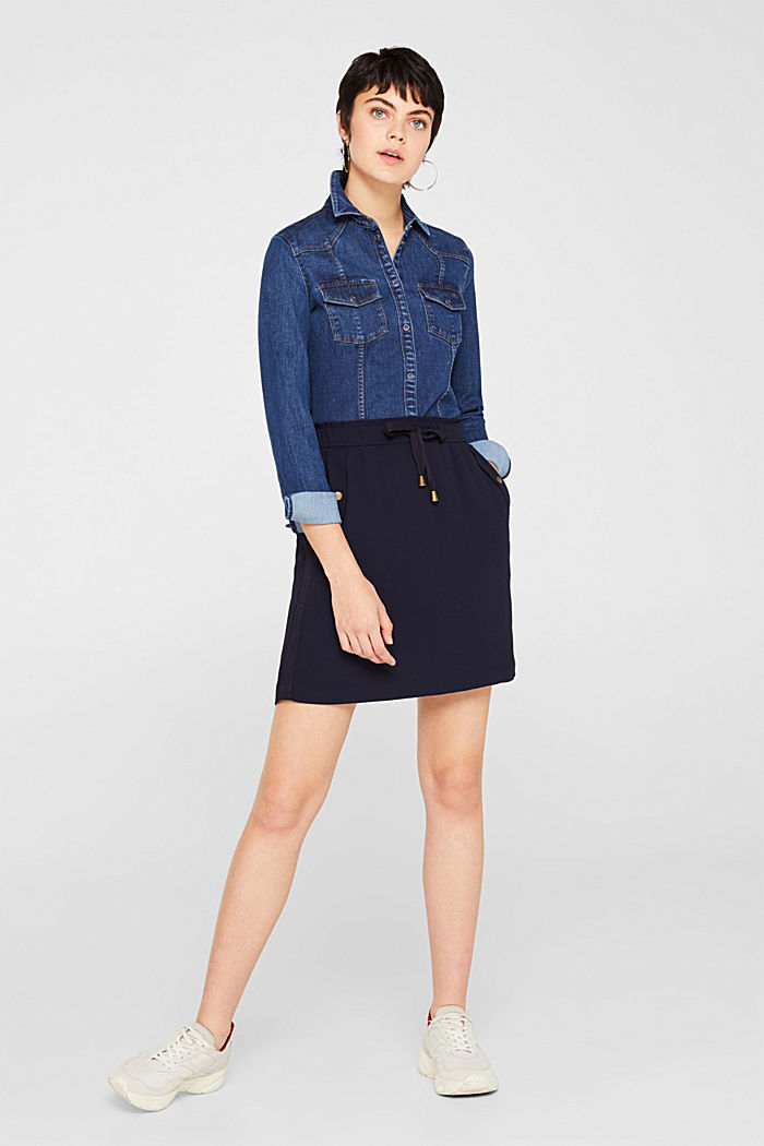 Crêpe skirt with a drawstring waistband, NAVY, detail image number 1