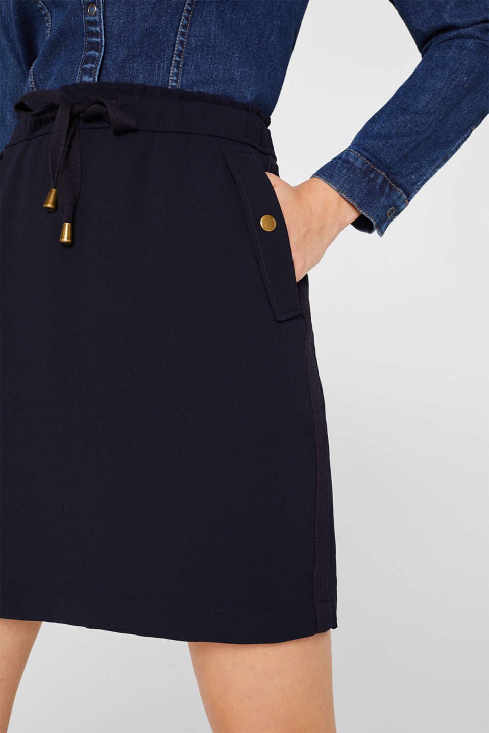 Crêpe skirt with a drawstring waistband, NAVY, detail image number 2