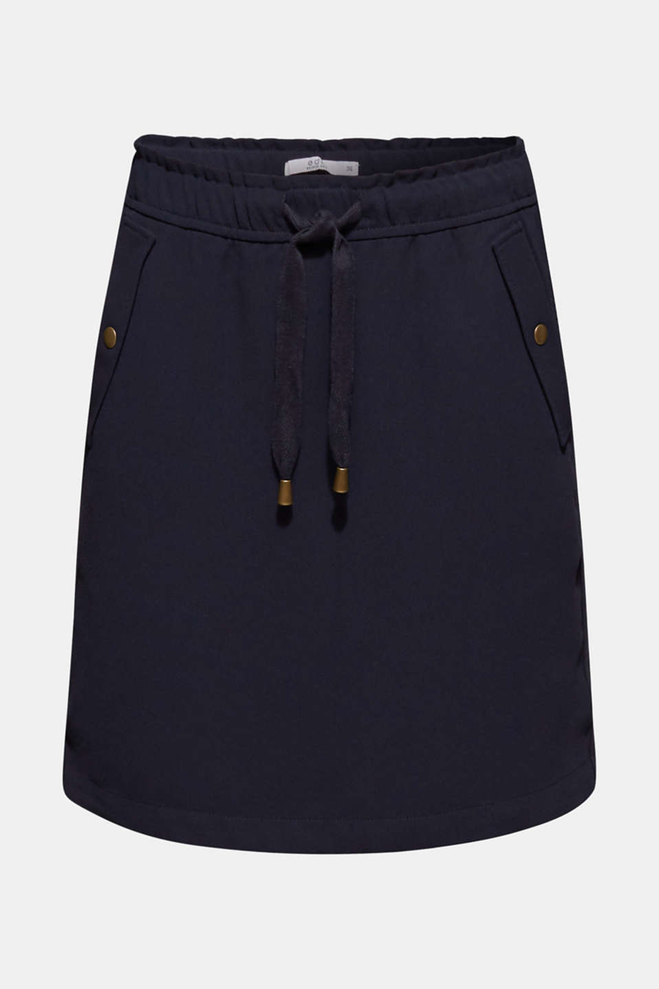 Crêpe skirt with a drawstring waistband, NAVY, detail image number 7