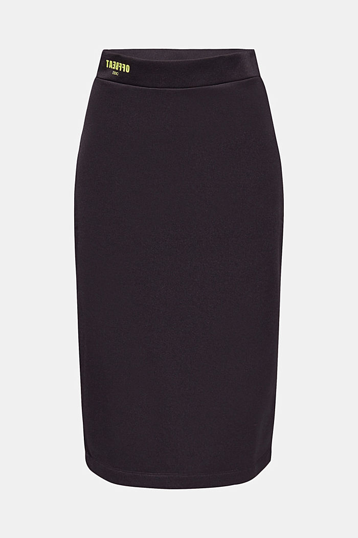 Long tube skirt made of sweatshirt fabric, BLACK, overview