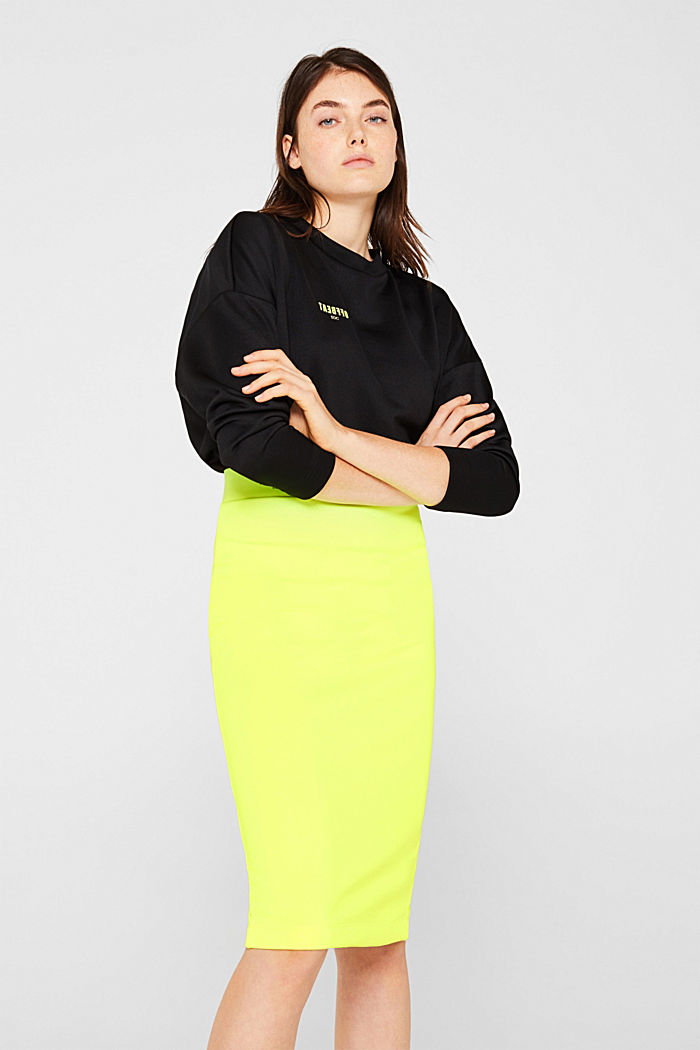 Long tube skirt made of sweatshirt fabric, BRIGHT YELLOW, detail image number 0