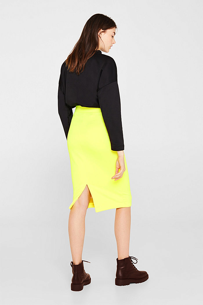 Long tube skirt made of sweatshirt fabric, BRIGHT YELLOW, detail image number 3