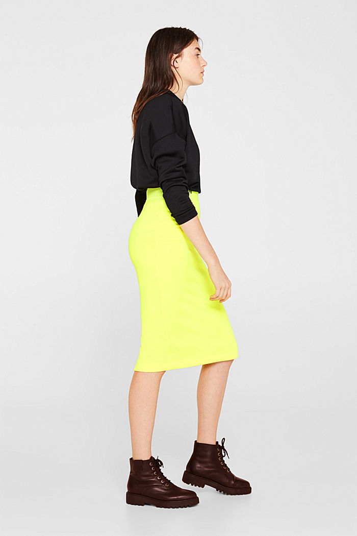 Long tube skirt made of sweatshirt fabric, BRIGHT YELLOW, detail image number 5