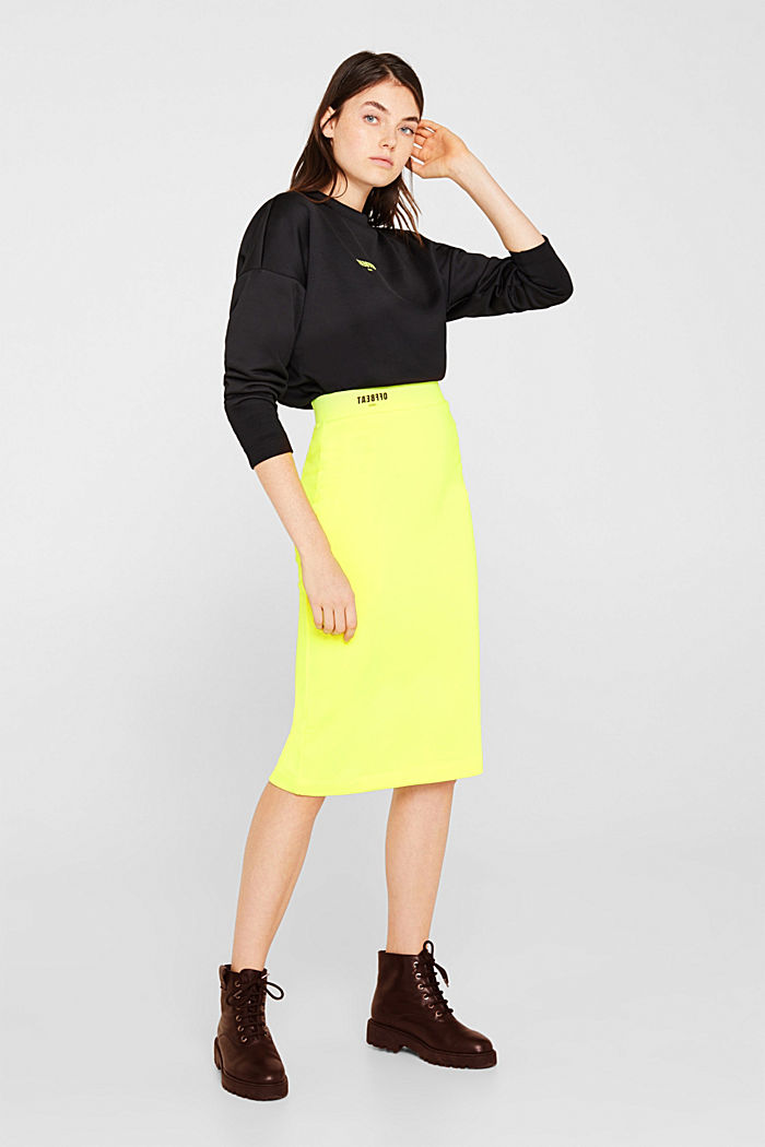 Long tube skirt made of sweatshirt fabric, BRIGHT YELLOW, detail image number 1