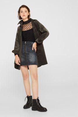 Stretch denim skirt with a zip, BLACK DARK WASH, detail