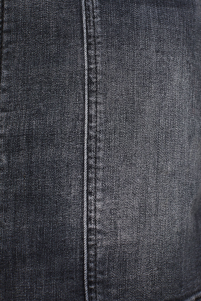 Stretch denim skirt with a zip, BLACK DARK WASHED, detail image number 4
