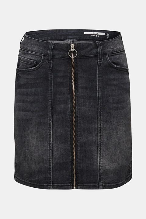 Stretch denim skirt with a zip