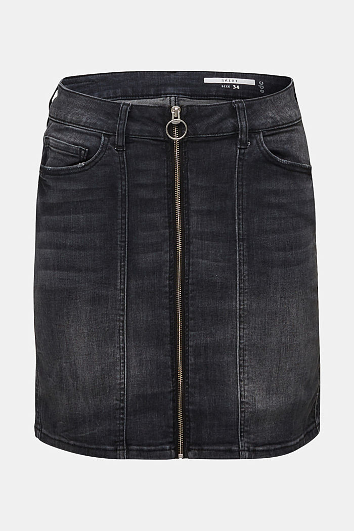 Stretch denim skirt with a zip, BLACK DARK WASHED, overview