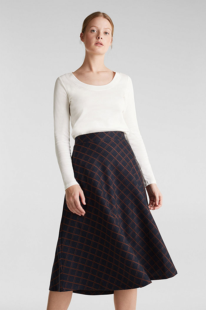 Checked midi skirt made of dense jersey, NAVY, detail image number 0