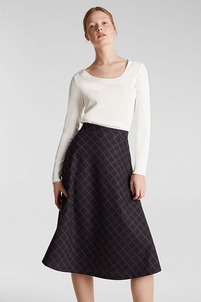 Checked midi skirt made of dense jersey, NAVY, detail image number 5