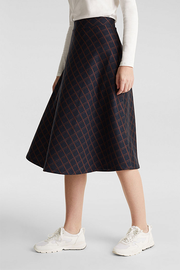 Checked midi skirt made of dense jersey, NAVY, detail image number 7