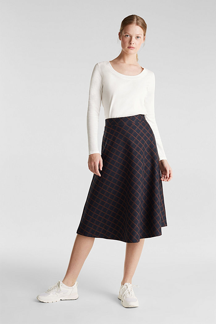 Checked midi skirt made of dense jersey, NAVY, detail image number 1