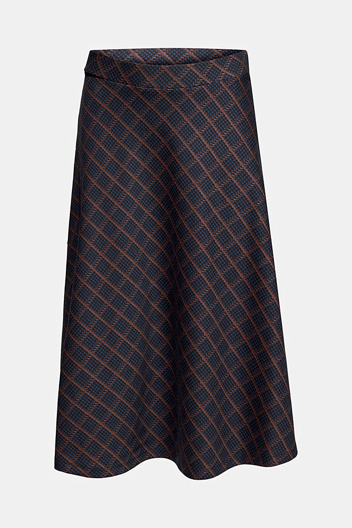 Checked midi skirt made of dense jersey, NAVY, detail image number 8