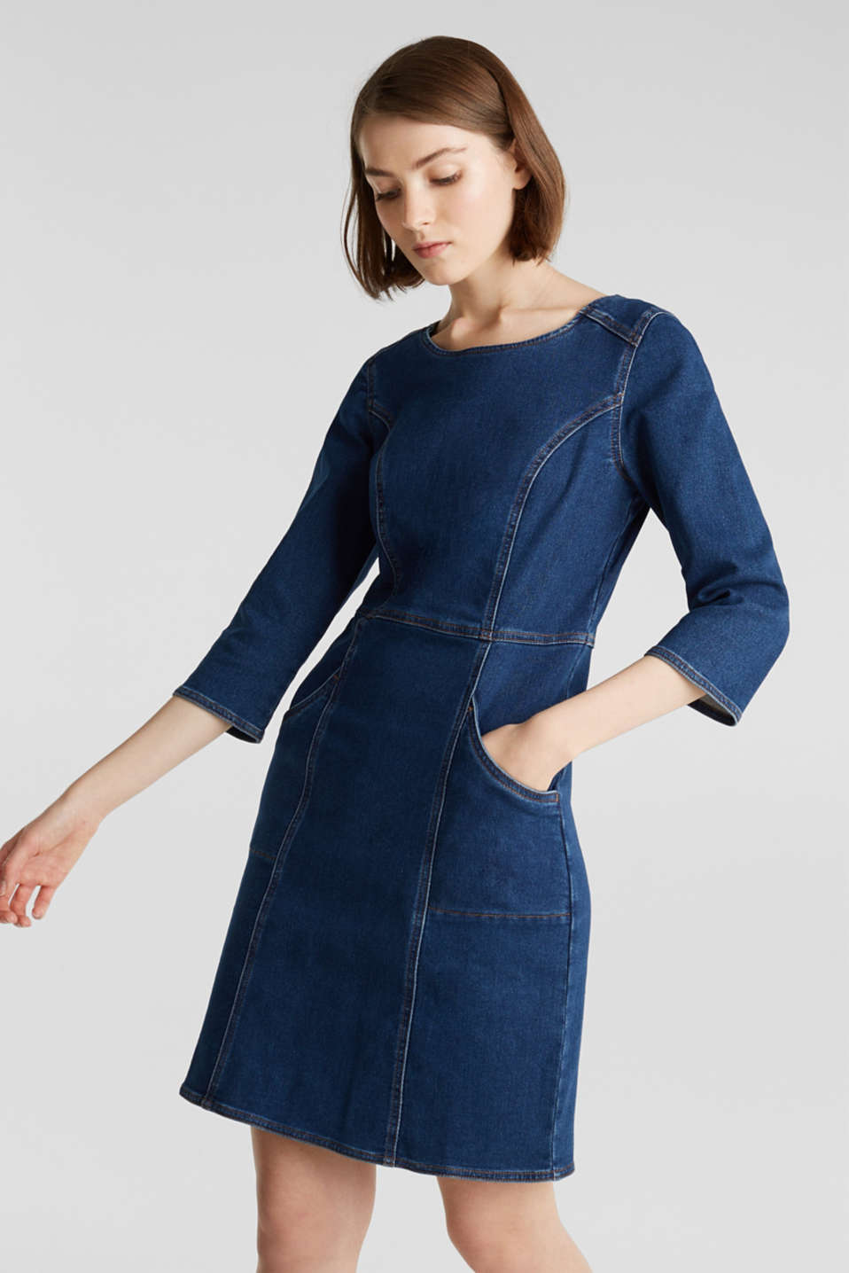Stretch denim dress in tracksuit fabric, BLUE DARK WASH, detail image number 0