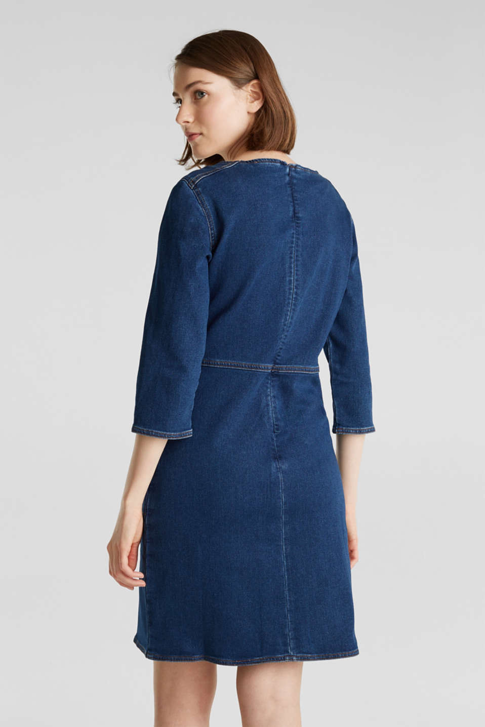 Stretch denim dress in tracksuit fabric, BLUE DARK WASH, detail image number 2