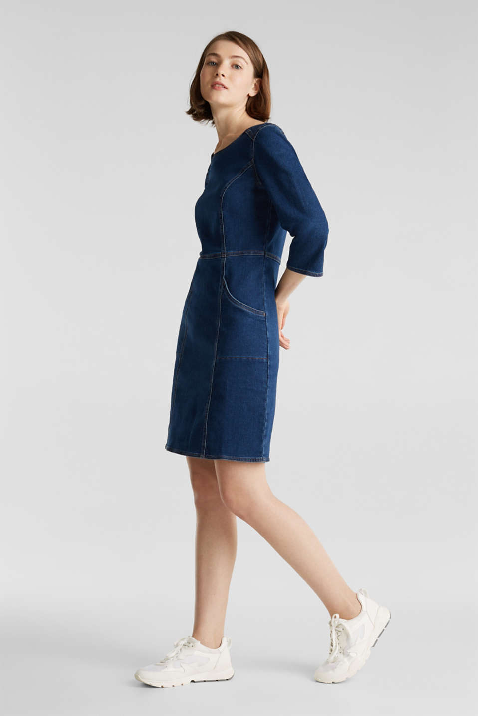 Stretch denim dress in tracksuit fabric, BLUE DARK WASH, detail image number 1