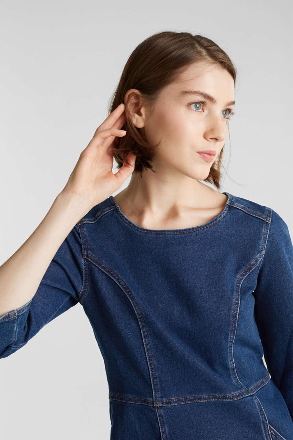 Stretch denim dress in tracksuit fabric, BLUE DARK WASH, detail image number 6