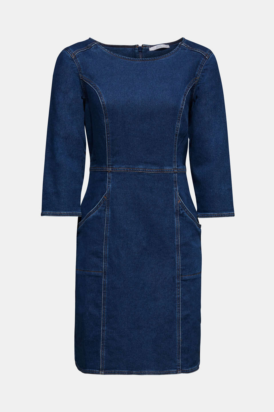 Stretch denim dress in tracksuit fabric, BLUE DARK WASH, detail image number 7