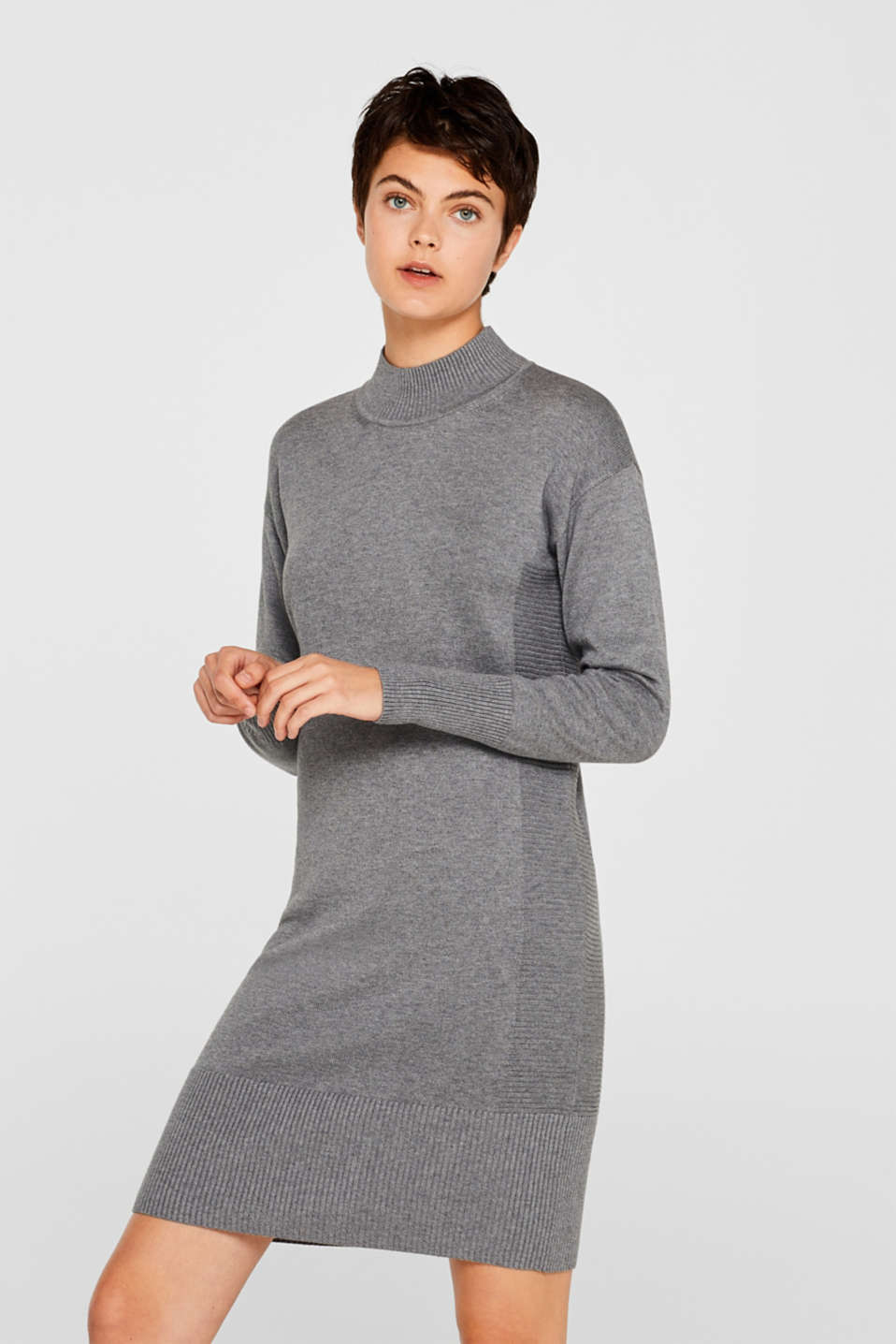 Knitted dress with texture effects, GUNMETAL 5, detail image number 0