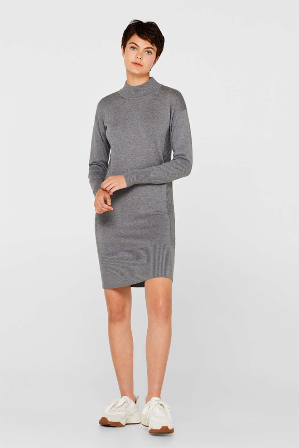 Knitted dress with texture effects, GUNMETAL 5, detail image number 5