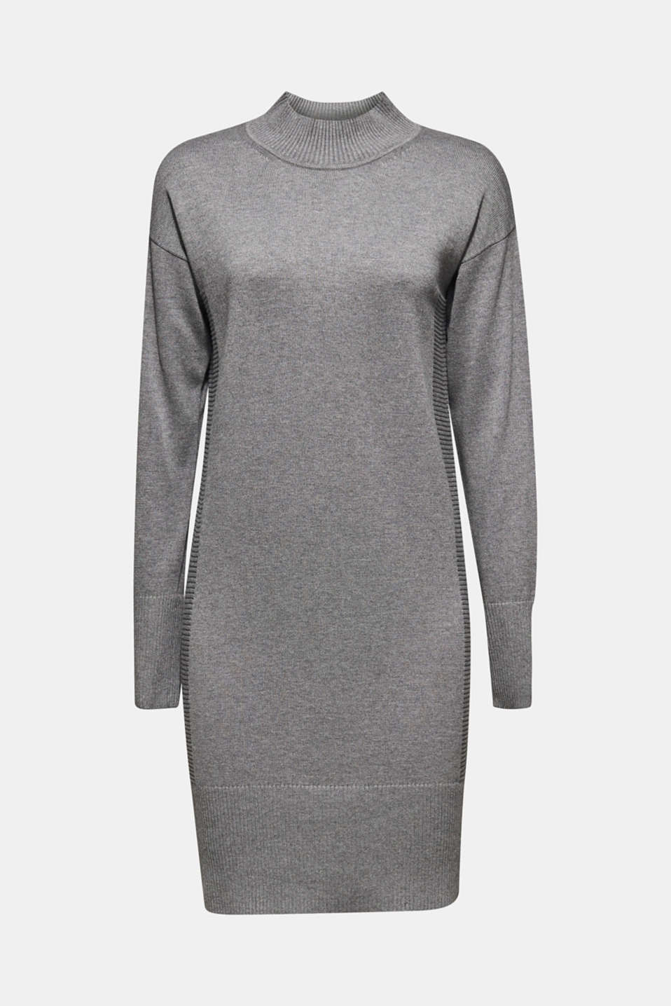 Knitted dress with texture effects, GUNMETAL 5, detail image number 7