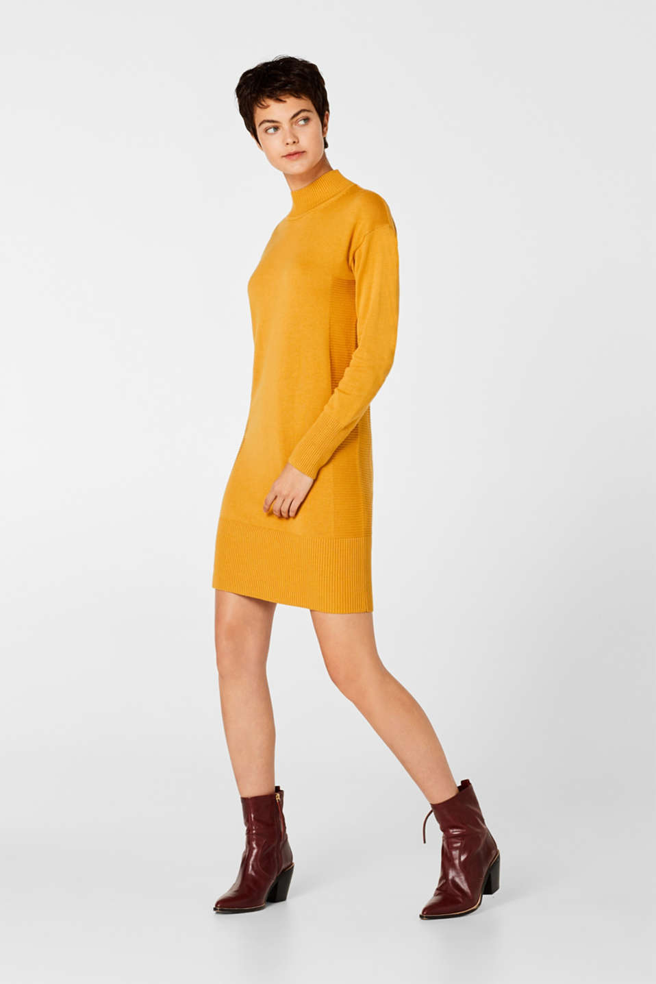 Knitted dress with texture effects, HONEY YELLOW, detail image number 0