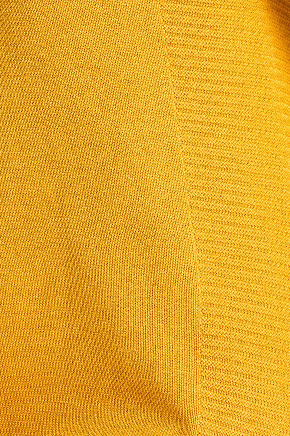 Knitted dress with texture effects, HONEY YELLOW, detail image number 4