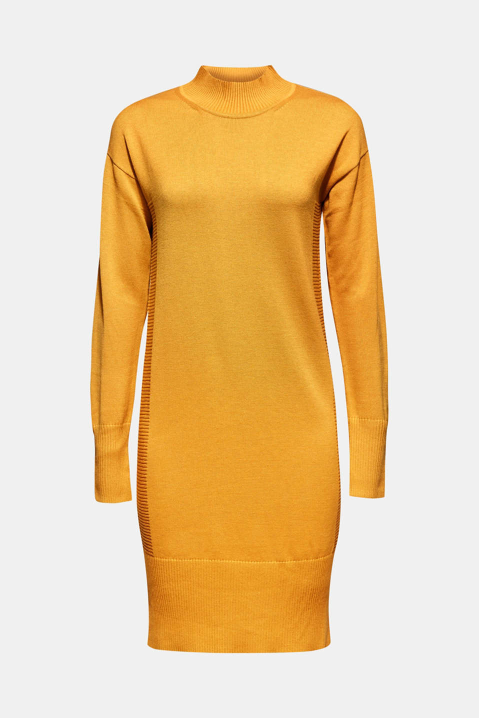 Knitted dress with texture effects, HONEY YELLOW, detail image number 5