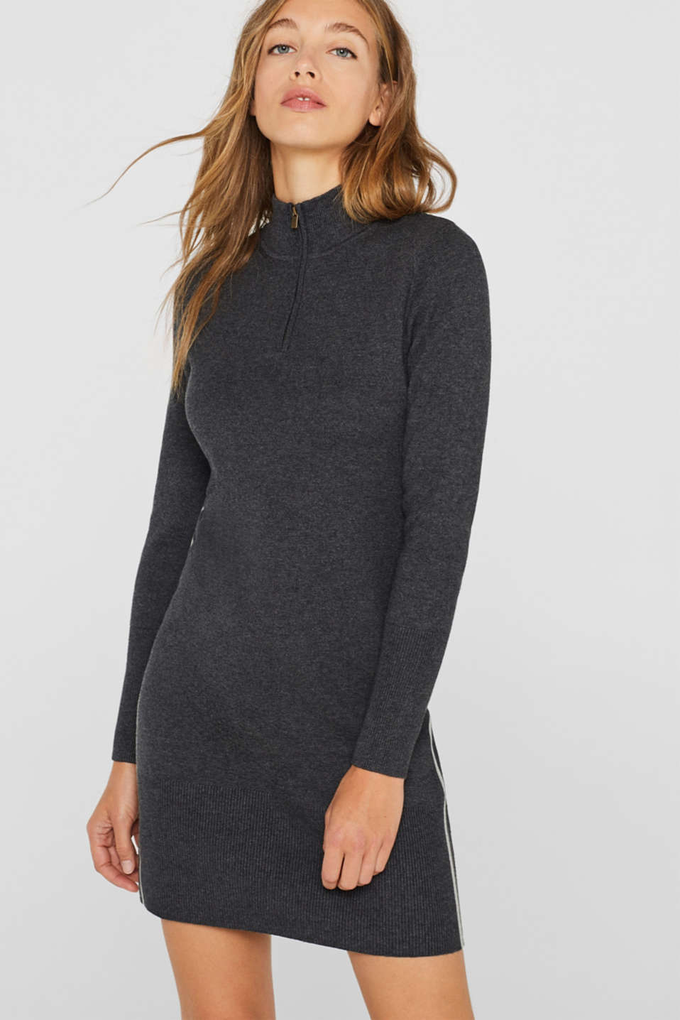 Knit dress with a zip-up band collar, GUNMETAL 5, detail image number 0