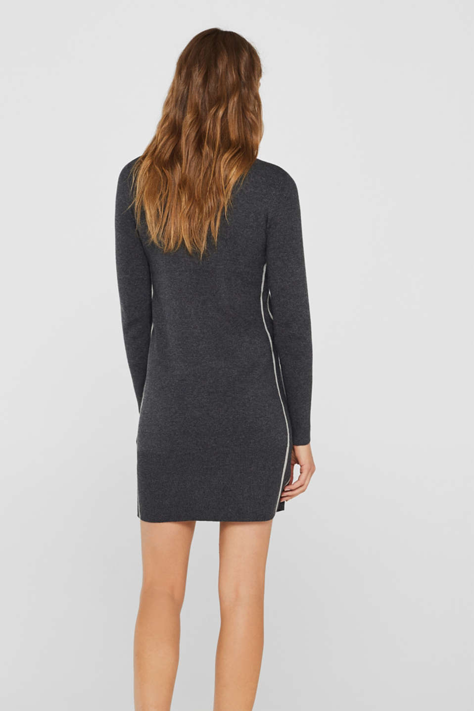 Knit dress with a zip-up band collar, GUNMETAL 5, detail image number 2