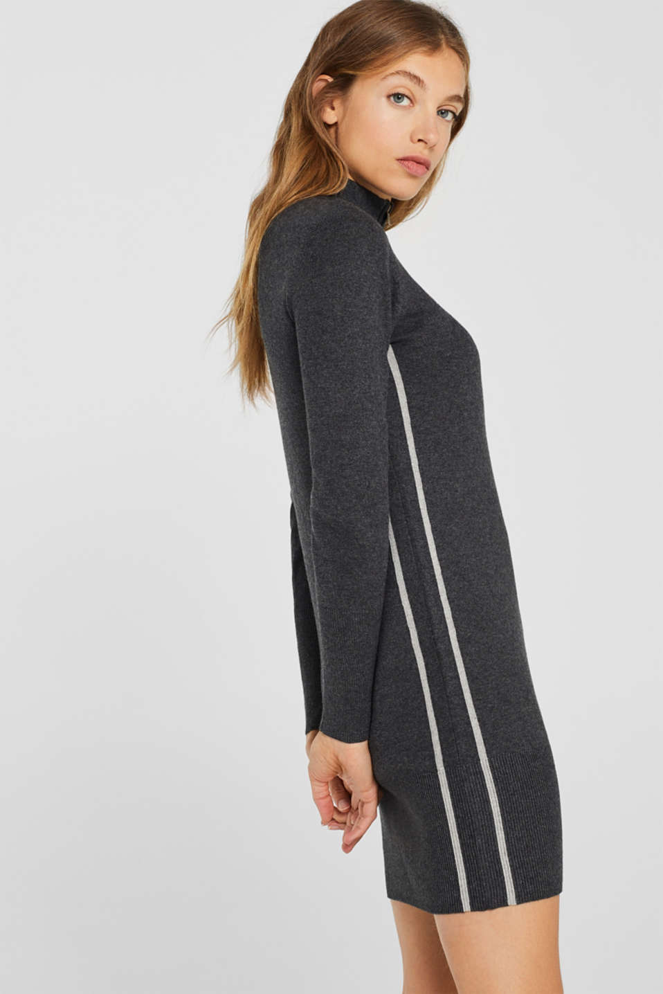 Knit dress with a zip-up band collar, GUNMETAL 5, detail image number 4