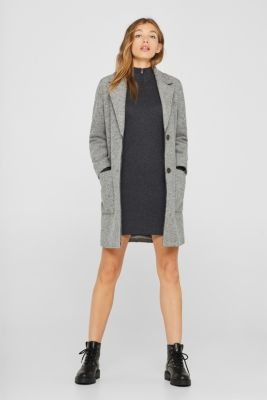 Knit dress with a zip-up band collar, GUNMETAL 5, detail