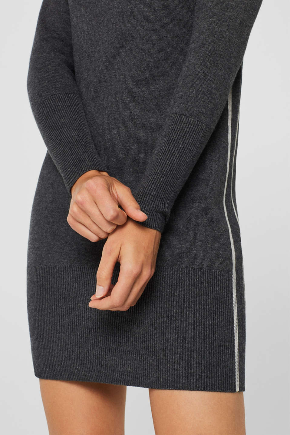 Knit dress with a zip-up band collar, GUNMETAL 5, detail image number 6