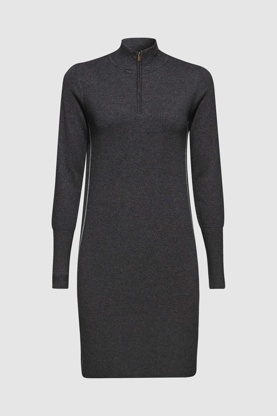Knit dress with a zip-up band collar, GUNMETAL 5, detail image number 8