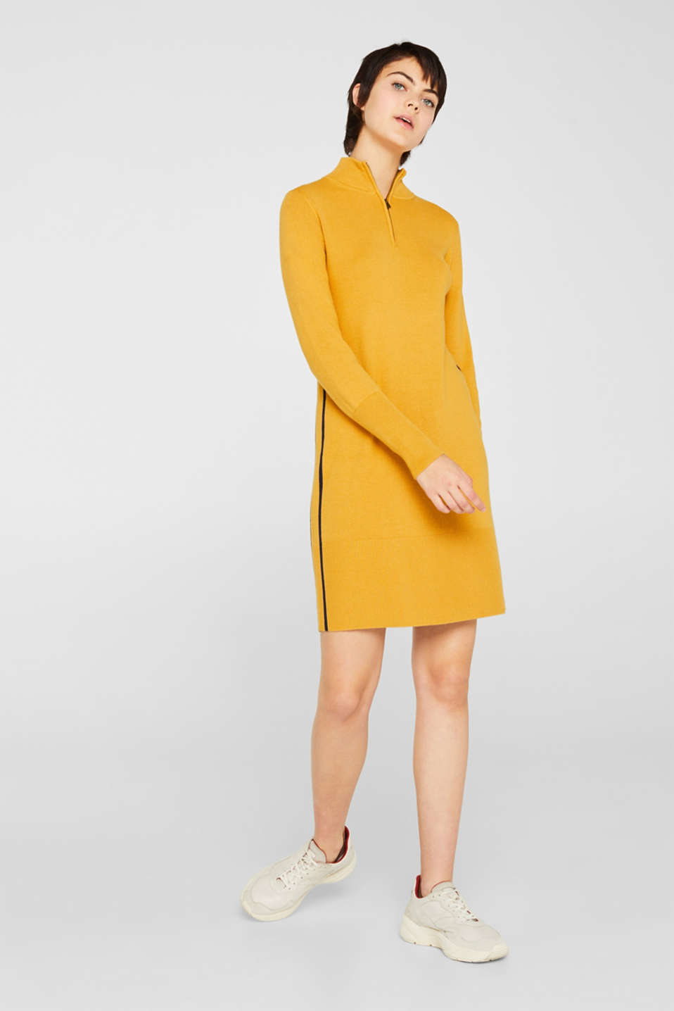 Knit dress with a zip-up band collar, HONEY YELLOW, detail image number 0