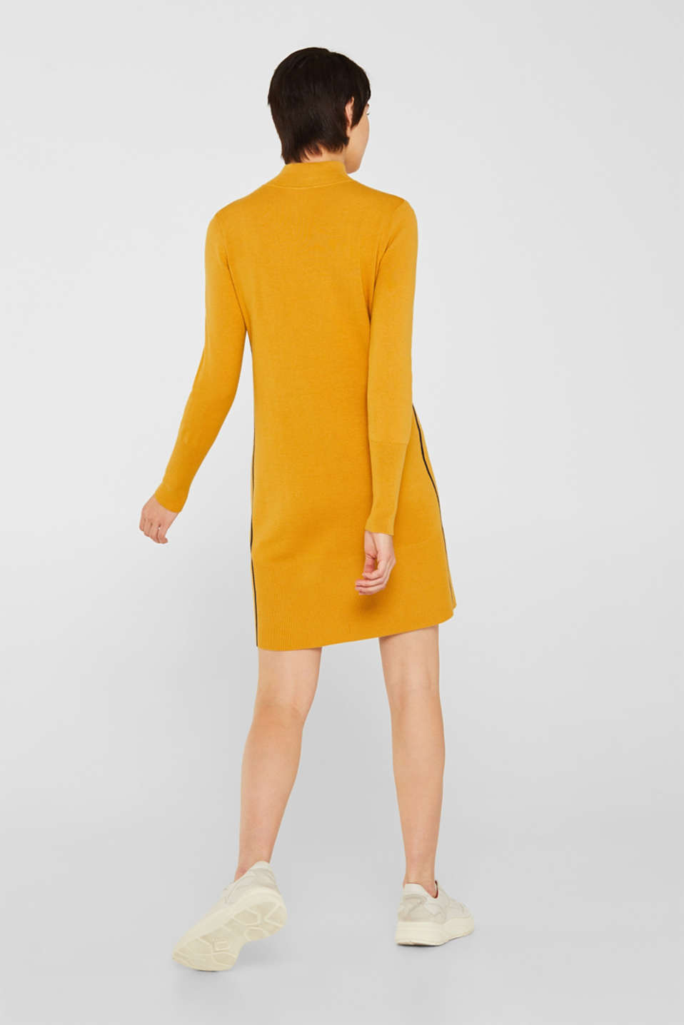 Knit dress with a zip-up band collar, HONEY YELLOW, detail image number 2