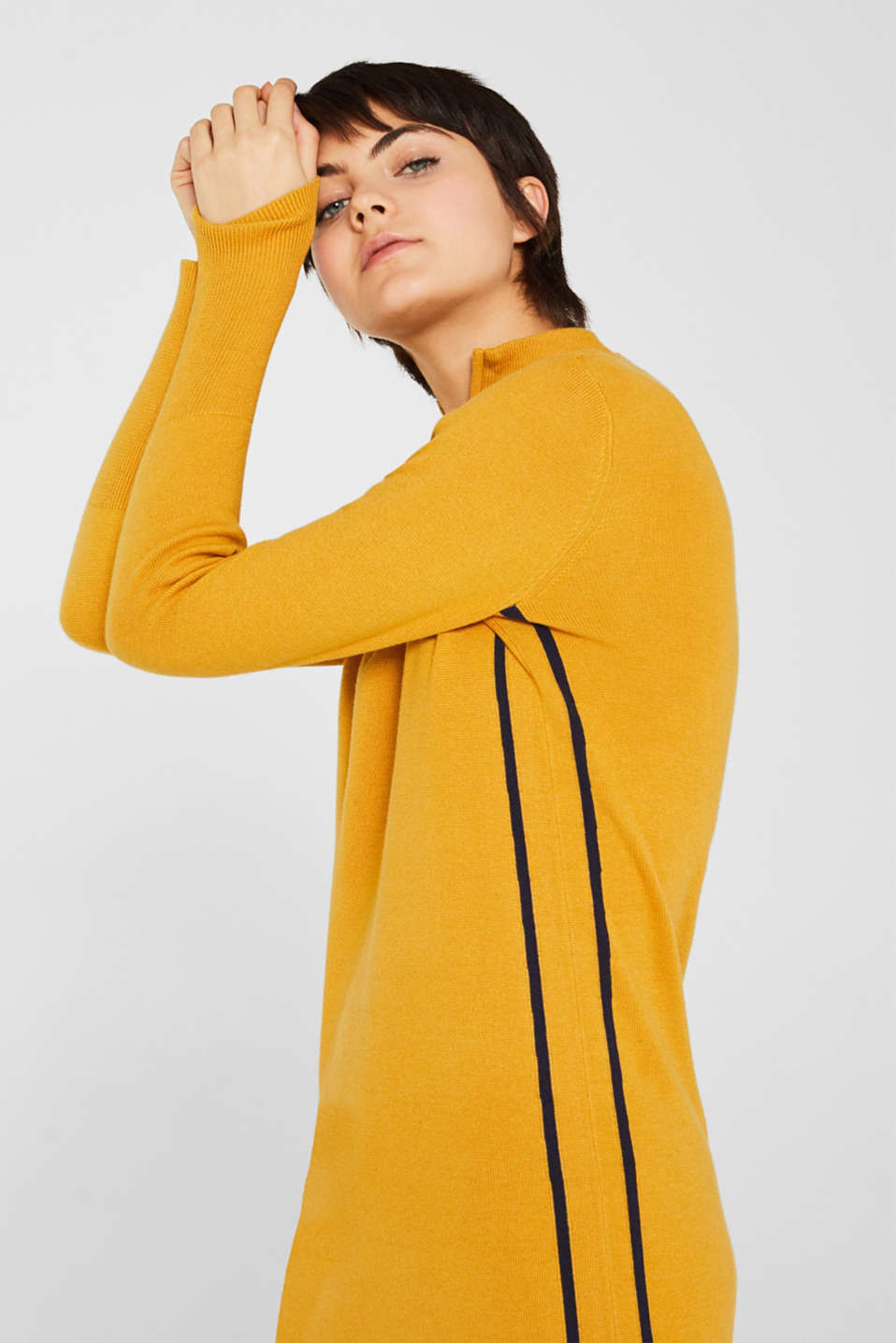 Knit dress with a zip-up band collar, HONEY YELLOW, detail image number 5