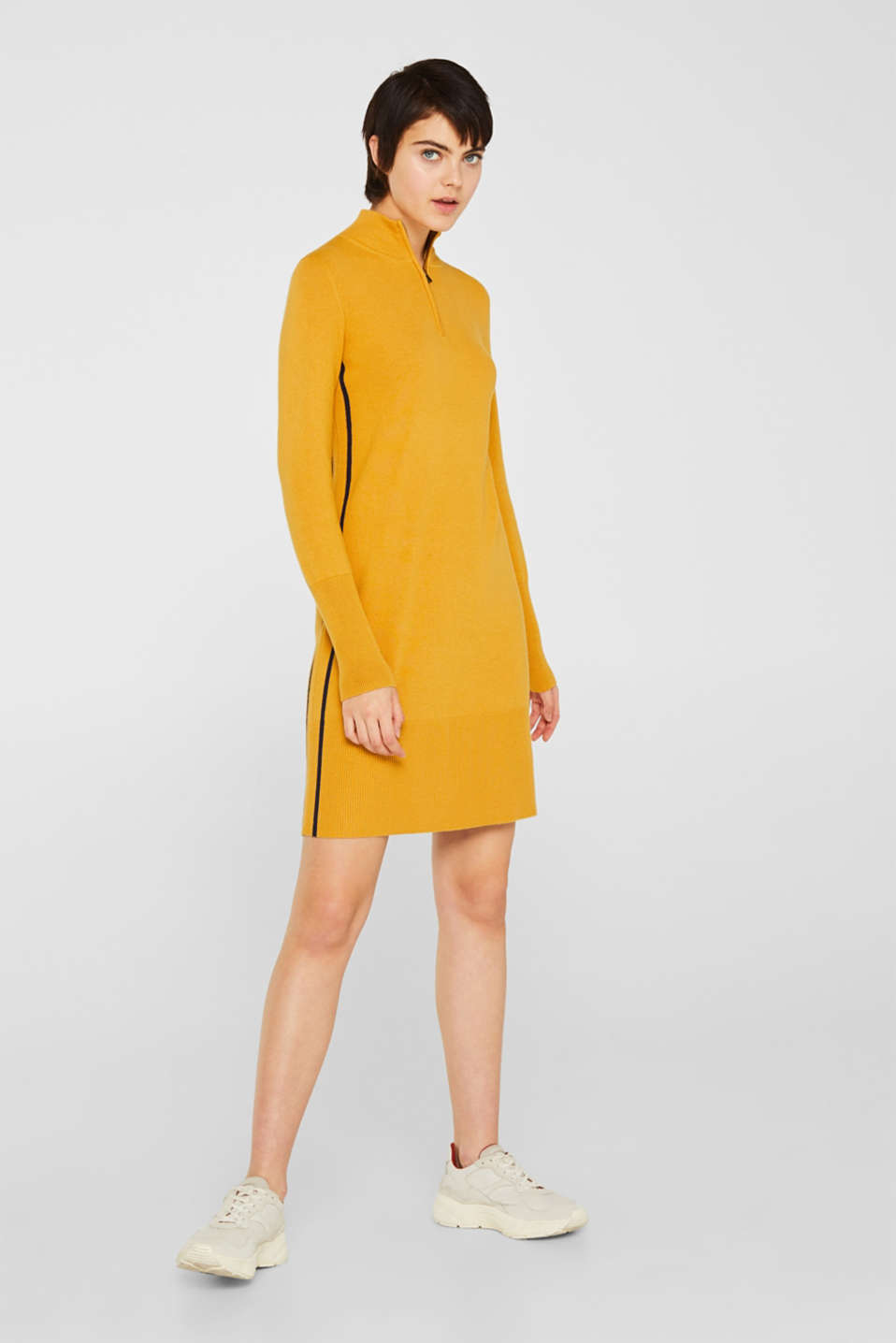 Knit dress with a zip-up band collar, HONEY YELLOW, detail image number 1