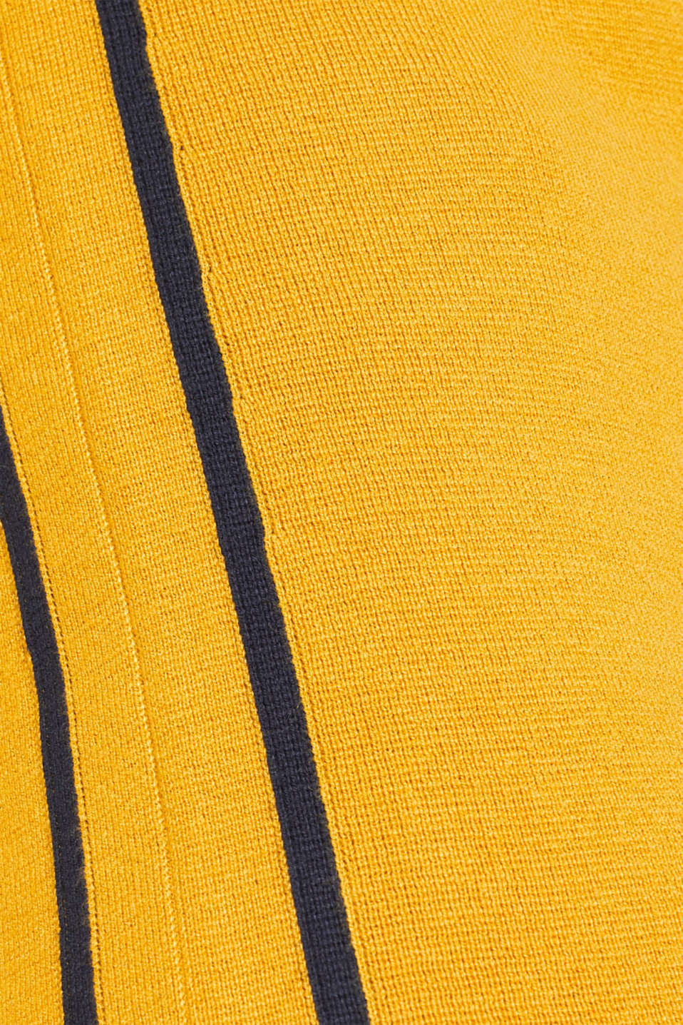 Knit dress with a zip-up band collar, HONEY YELLOW, detail image number 4