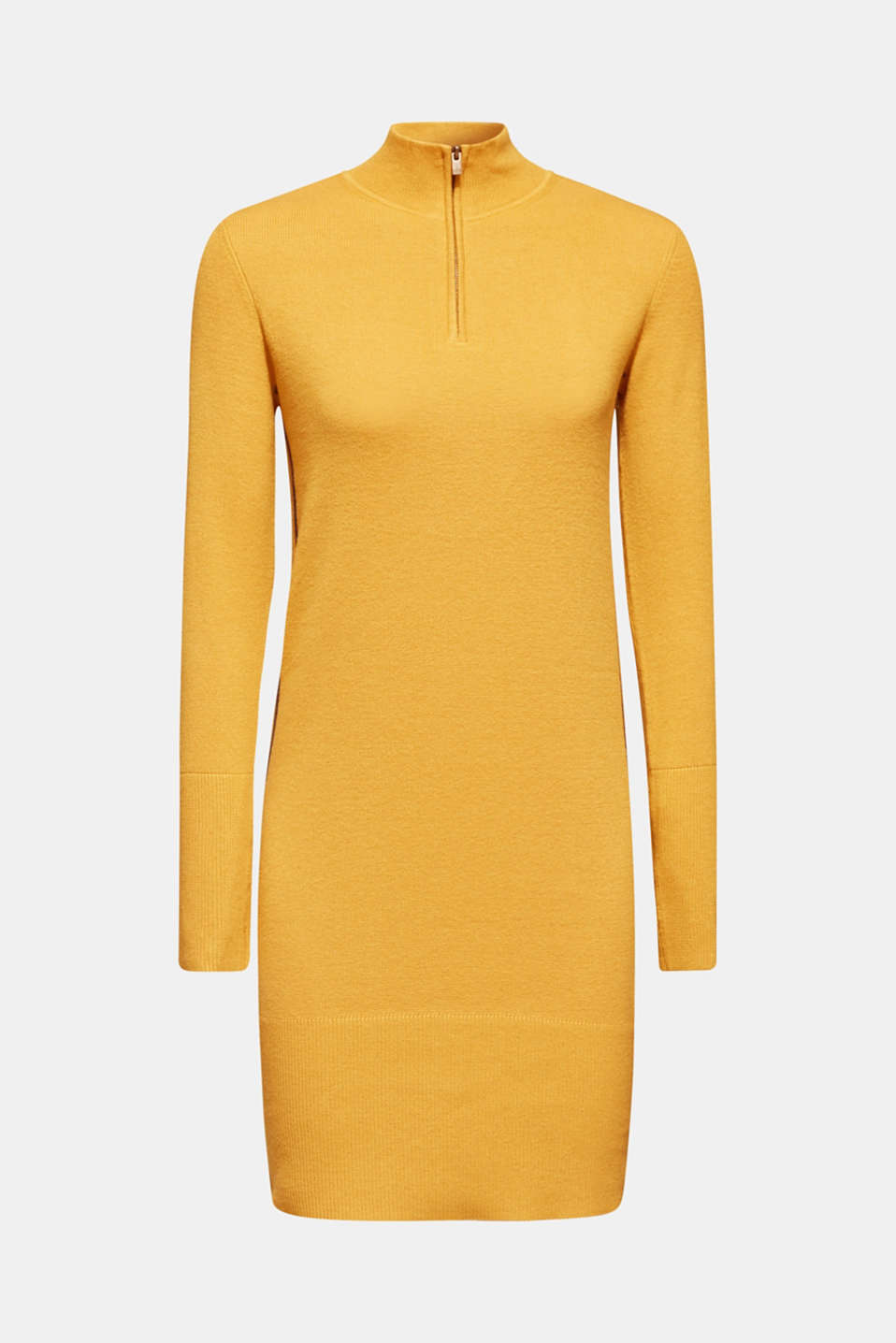 Knit dress with a zip-up band collar, HONEY YELLOW, detail image number 6