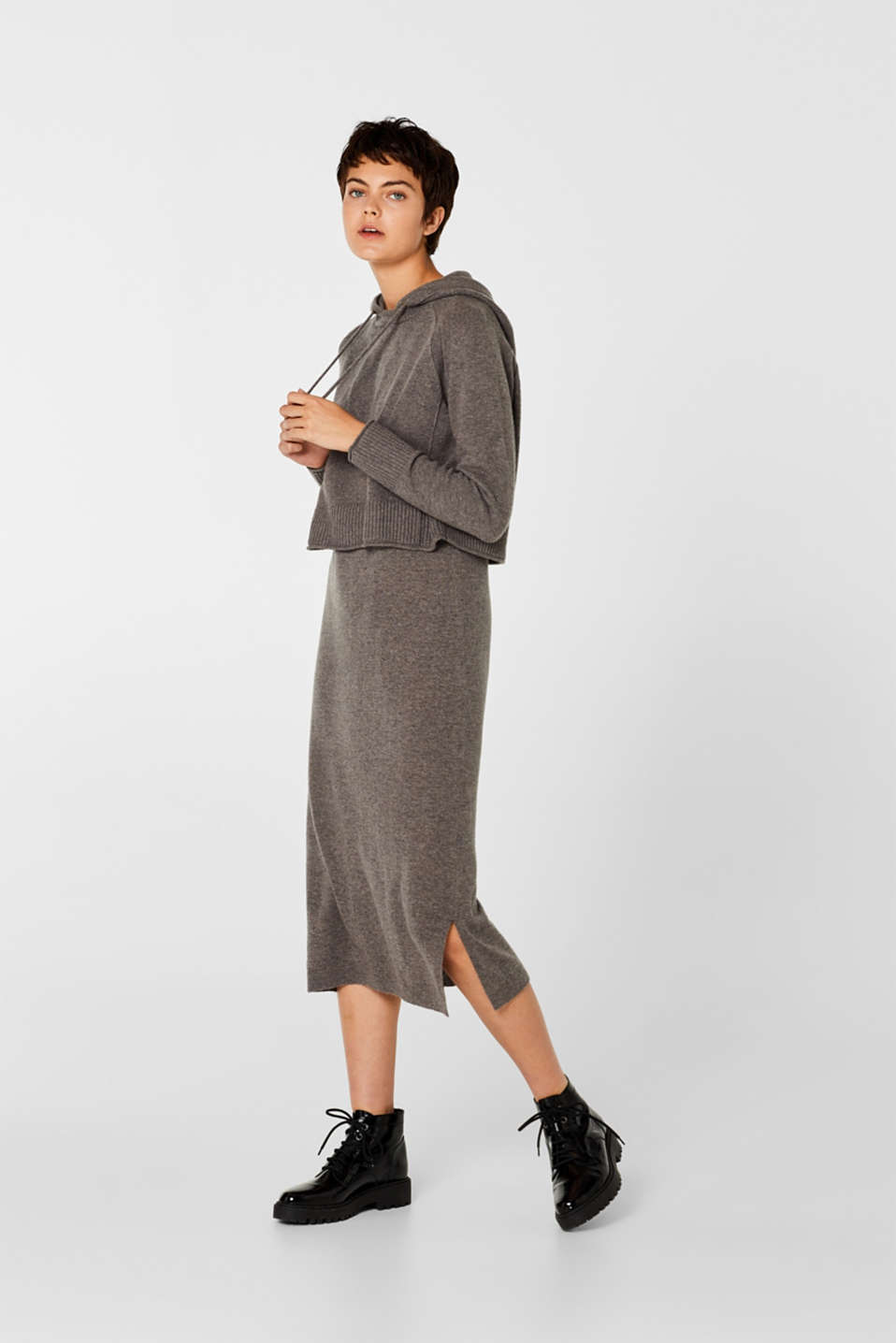 With wool: Two-in-one knit dress, GUNMETAL 5, detail