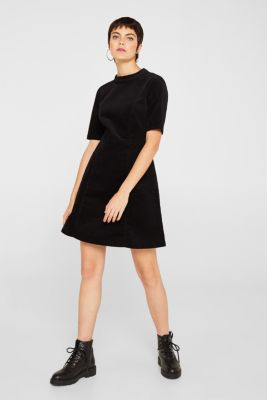 Fitted stretchy corduroy dress, BLACK, detail