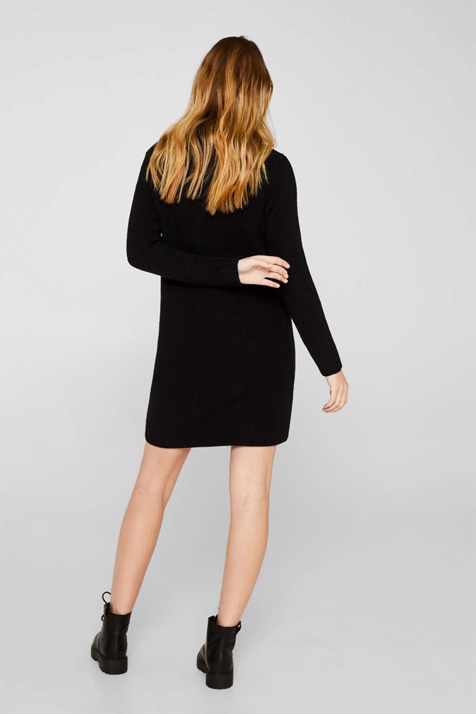Knit dress made of blended cotton, BLACK, detail image number 2