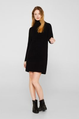 Knit dress made of blended cotton, BLACK, detail