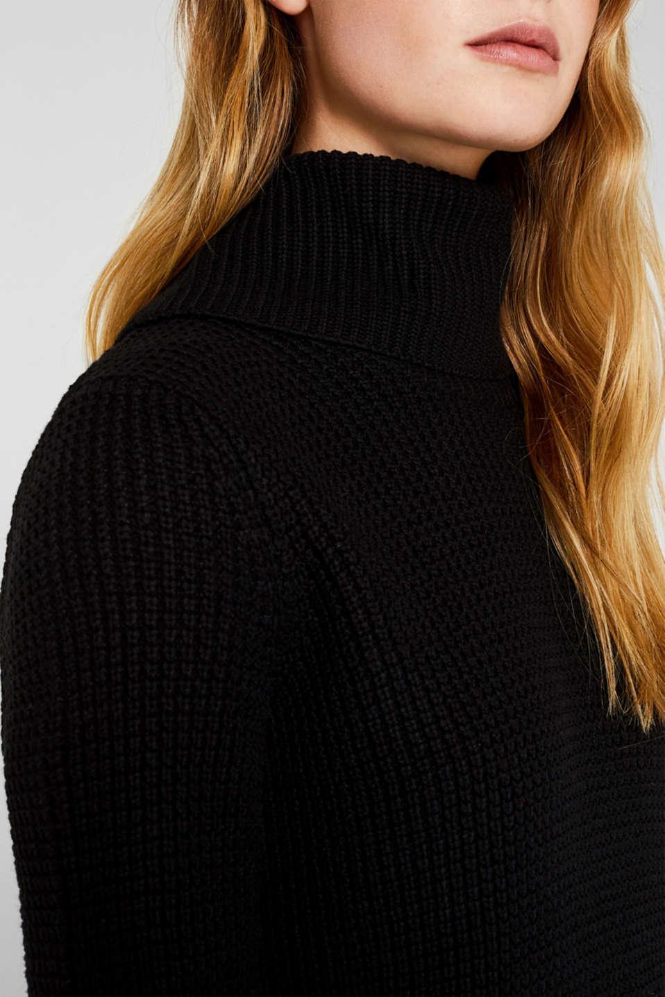 Knit dress made of blended cotton, BLACK, detail image number 3