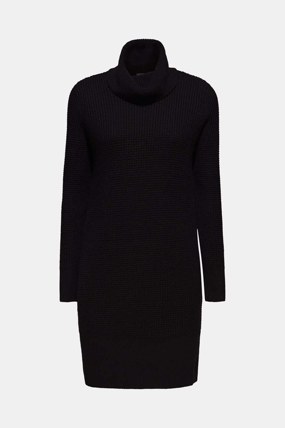 Knit dress made of blended cotton, BLACK, detail image number 7