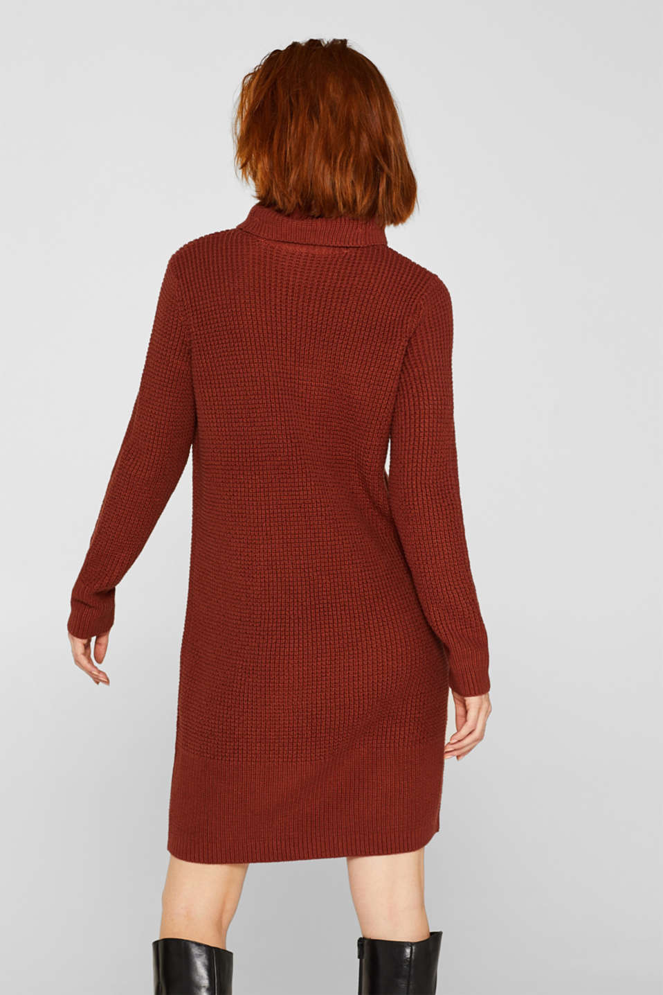 Knit dress made of blended cotton, TERRACOTTA, detail image number 2