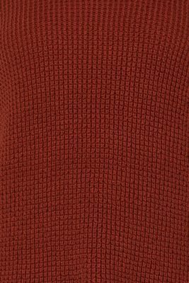 Knit dress made of blended cotton, TERRACOTTA, detail