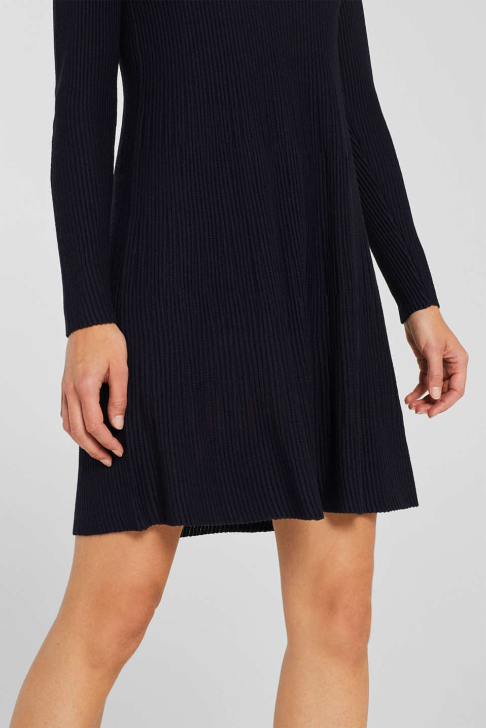 Dress made of a ribbed knit, recycled, NAVY, detail image number 3